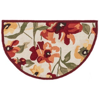 Hand-hooked Savannah Red/ Yellow Floral Hearth Rug (2'3 x 3'9)