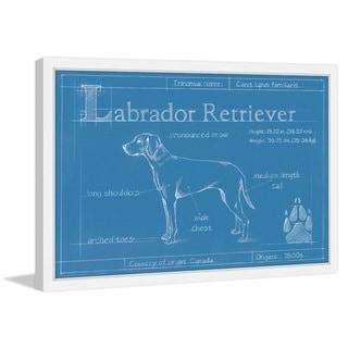 Marmont Hill - 'Blueprint Labrador Retriever' Framed Painting Print