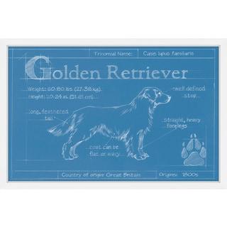 Marmont Hill - 'Blueprint Golden Retriever' Framed Painting Print