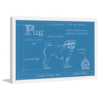 Marmont Hill - 'Blueprint Pug' Framed Painting Print
