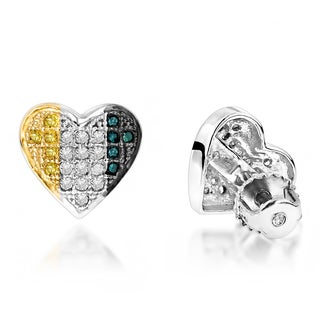 Luxurman Sterling Silver Blue and Yellow 1/3ct TDW Diamond Heart Earrings (H-I, I1-I2)