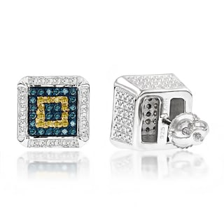 Luxurman Sterling Silver 3/8 ct TDW Blue and Yellow Diamond Square Stud Earrings (I1-I2)