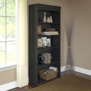 Stanford Antique Black 5-shelf Bookcase