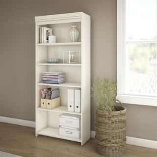 Fairview Antique White 5-shelf Bookcase