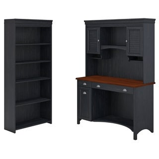 Stanford Computer Desk with Hutch and 5 Shelf Bookcase in Black