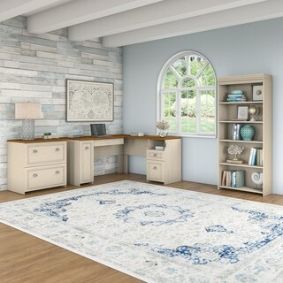Fairview L Shaped Desk with Bookcase and Lateral File Cabinet in White
