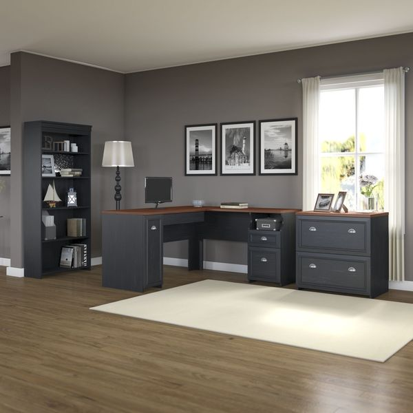 Fairview L Shaped Desk With Bookcase And Lateral File