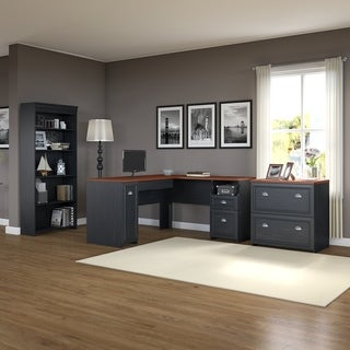 Fairview L Shaped Desk with Bookcase and Lateral File Cabinet in Black