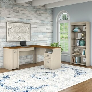 Fairview L Shaped Desk and 5 Shelf Bookcase in Antique White
