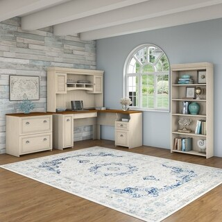 Fairview L Shaped Desk with Hutch, Bookcase and Lateral File Cabinet in Antique White
