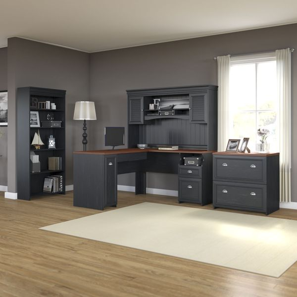 Fairview L Shaped Desk With Hutch Bookcase And Lateral