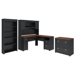 Fairview L Shaped Desk with Hutch, Bookcase and Lateral File Cabinet