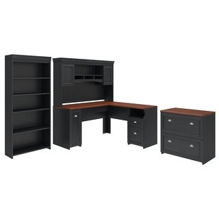 Gracewood Hollow Macomber L-Shaped Desk with Hutch, Bookcase, and File Cabinet in Black