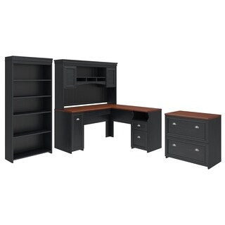 Fairview L Shaped Desk with Hutch, Bookcase and File Cabinet in Black