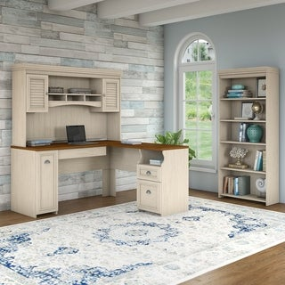 Fairview L Shaped Desk with Hutch, Bookcase and Lateral File Cabinet in White