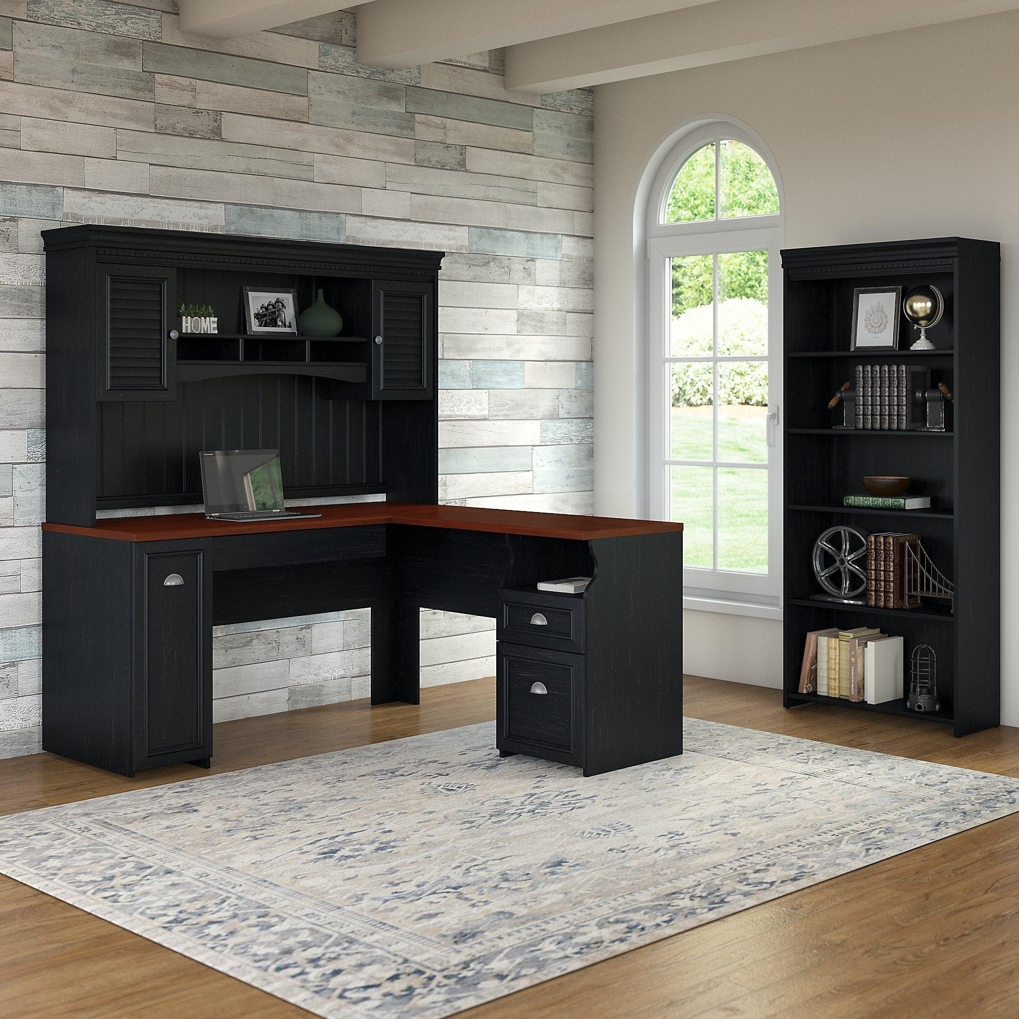 Copper Grove Khashuri Black L-shaped Desk with Hutch and 5-Shelf Bookcase (L Shaped - Black)