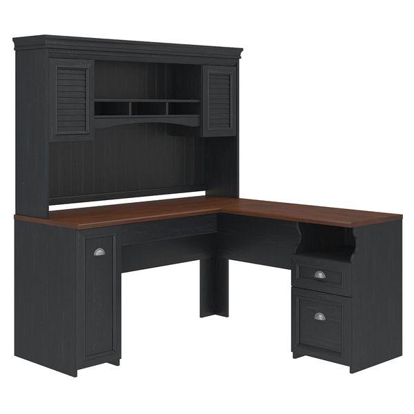 l shaped computer desk with hutch on sale cheap u staples antique black