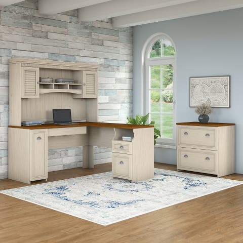 Copper Grove Khashuri White L-shaped Desk with Hutch and Lateral File Cabinet