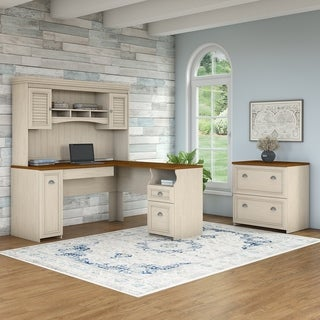 Fairview L Shaped Desk with Hutch and Lateral File Cabinet - Antique White