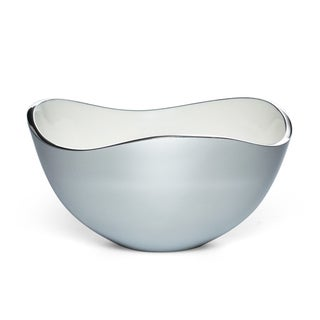 White/ Silver Enamel-coated Alloy 5-inch Serving Bowl