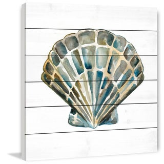 Marmont Hill - 'Aquarelle Shells IV' Painting Print on White Wood