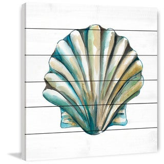 Marmont Hill - 'Aquarelle Shells VI' Painting Print on White Wood