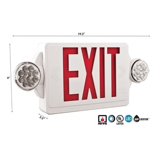 Lithonia Lighting White/Red Plastic Emergency Exit Unit