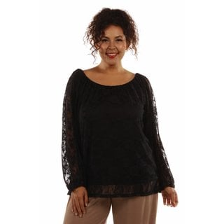 24/7 Comfort Apparel Women's Pretty Black Lace Plus Size Tunic Top