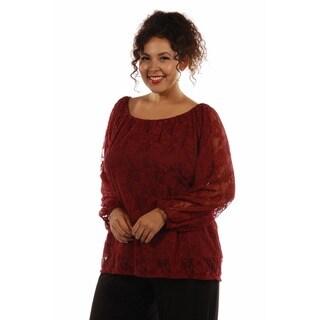 24/7 Comfort Apparel Women's Pretty Black Lace Plus Size Tunic Top
