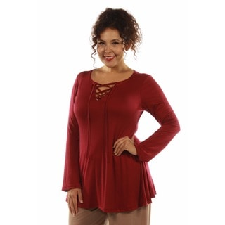 Stunning Lace Up Plus Size Keyhole Tunic Top