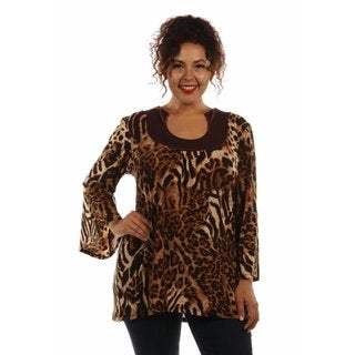 24/7 Comfort Apparel Women's Lovely Leopard Print Plus Size Tunic Top