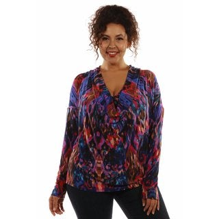 24/7 Comfort Apparel Women's Fashion Forward Jewel Tone Drape Neck Top Plus Size