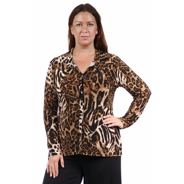 Shop 24 7 Comfort Apparel Women S Plus Size Animal Print Collared