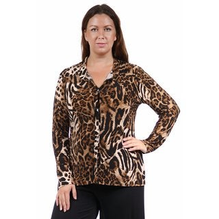 24/7 Comfort Apparel Women's Plus Size Animal Print Collared Blouse