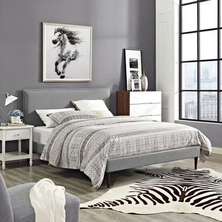 Modway Camille Light Grey Fabric and Wood Round Tapered Legs Platform Bed