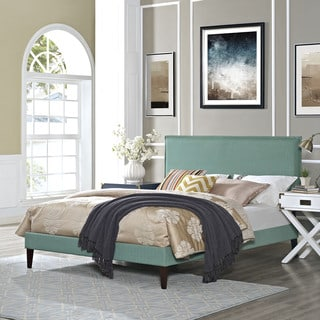 Modway Camille Laguna Fabric and Wood Squared Tapered Legs Platform Bed