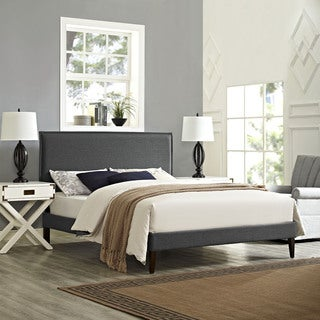 Modway Camille Grey Fabric Platform Bed with Squared Tapered Legs and Wood Frame
