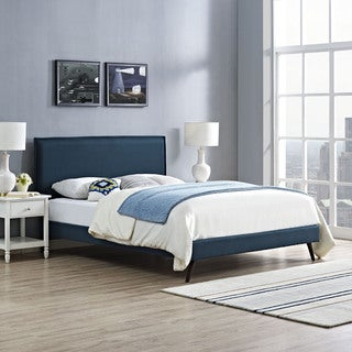 Camille Azure Fabric Platform Bed with Round Splayed Legs