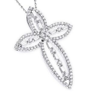 Luxurman 18k White Gold Designer 1 1/4ct TDW Diamond Cross Pendant (G-H, SI1-SI2)