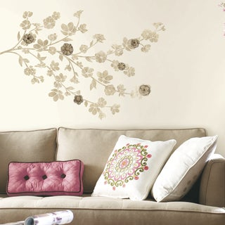 Roommates Floral Blossom with 3D Flower Embellishments Giant Peel and Stick Wall Decals