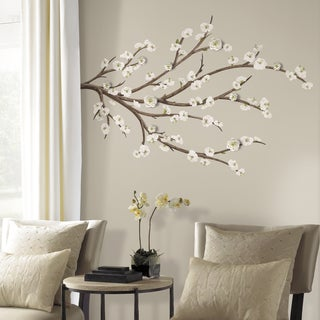 White/Brown Blossom Branch Peel and Stick Flower-embellished Giant Wall Decal
