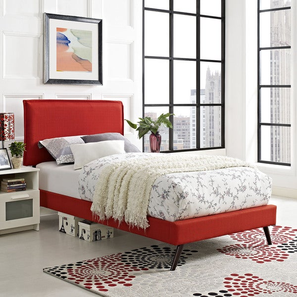 Shop Modway Camille Atomic Red Fabric Platform Bed With Round ...