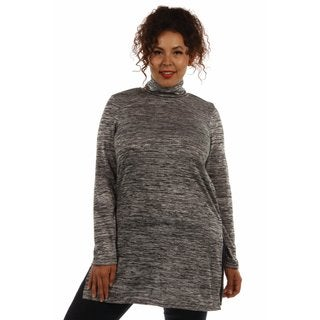 24/7 Comfort Women's Plus Size Mock Turtleneck Tunic