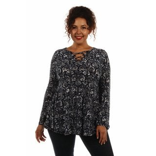Pretty Print Plus Size Silky Tunic Top