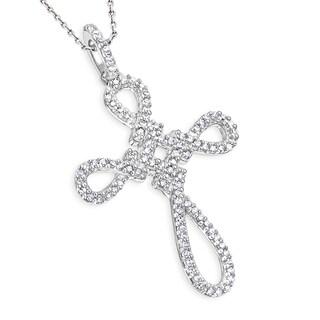 Luxurman 14k Gold 1/5ct TDW Diamond Cross Pendant