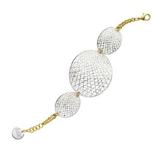 Isla Simone - Fine Silver And Gold Electro Plated Oval Mesh Disc Bracelet