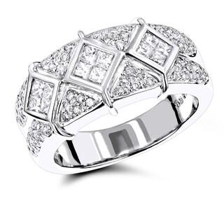 Luxurman 14k White Gold Designer 1 3/8ct TDW Diamond Ring
