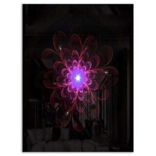 Glowing Fractal Flower Pink on Black - Floral Glossy Metal Wall Art