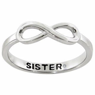 "JewelMore Sterling Silver Infinity ""Sister"" Diamond Accent Ring"