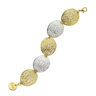 Isla Simone - Fine Silver And Gold Electro Plated Duotone Oval Mesh Disc Bracelet